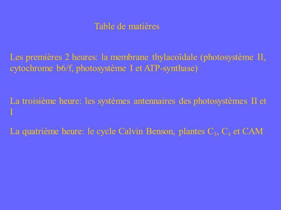 Table de matières Les premières 2 heures: la membrane thylacoïdale (photosystème II, cytochrome b6/f, photosystème I et ATP-synthase)