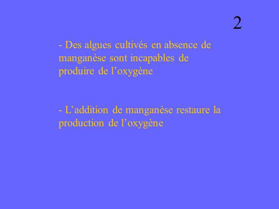 2 - Des algues cultivés en absence de manganèse sont incapables de produire de l'oxygène.