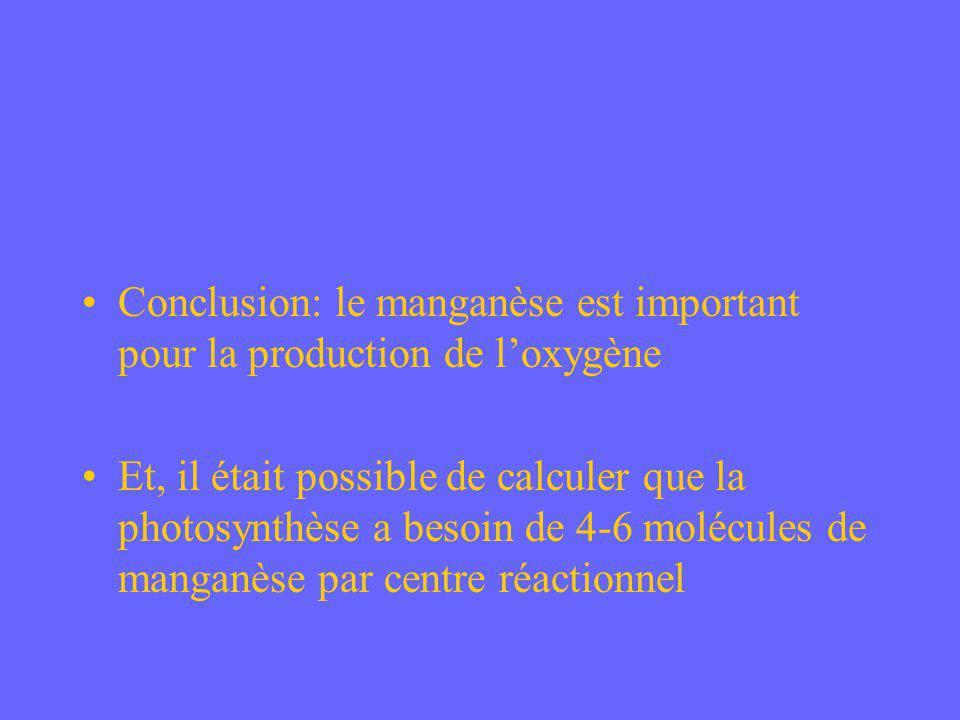 Conclusion: le manganèse est important pour la production de l'oxygène