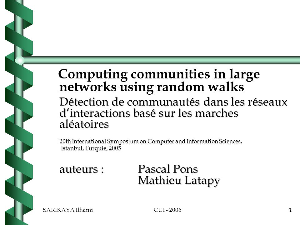 Computing communities in large networks using random walks
