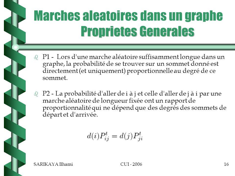 Marches aleatoires dans un graphe Proprietes Generales
