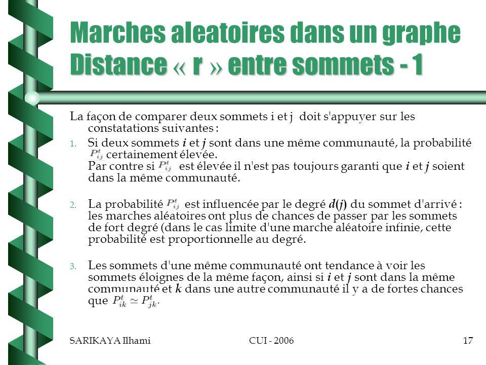 Marches aleatoires dans un graphe Distance « r » entre sommets - 1