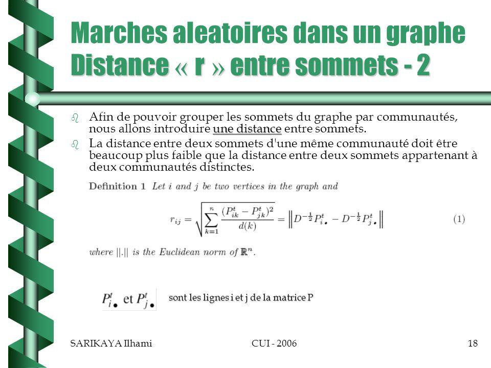 Marches aleatoires dans un graphe Distance « r » entre sommets - 2
