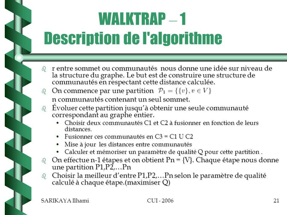WALKTRAP – 1 Description de l algorithme