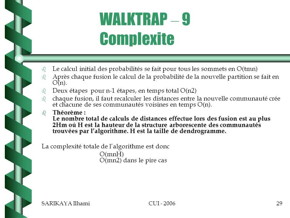 WALKTRAP – 9 Complexite Le calcul initial des probabilités se fait pour tous les sommets en O(tmn)