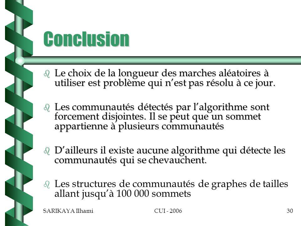 Conclusion Le choix de la longueur des marches aléatoires à utiliser est problème qui n'est pas résolu à ce jour.