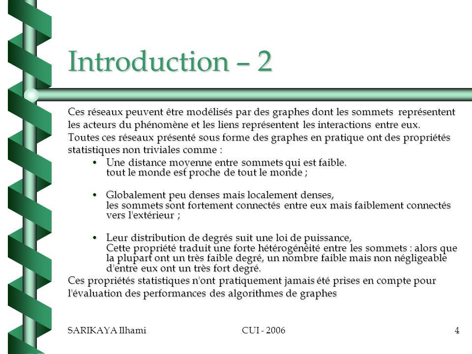 Introduction – 2 Ces réseaux peuvent être modélisés par des graphes dont les sommets représentent.