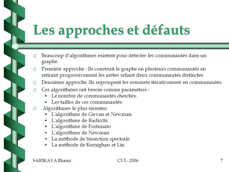 Les approches et défauts