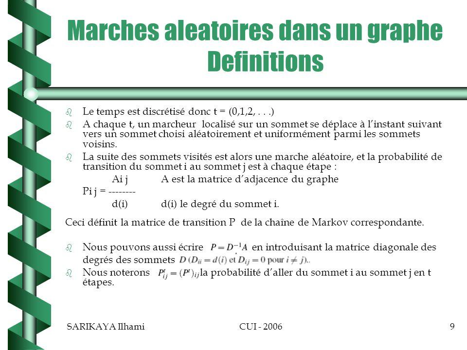 Marches aleatoires dans un graphe Definitions