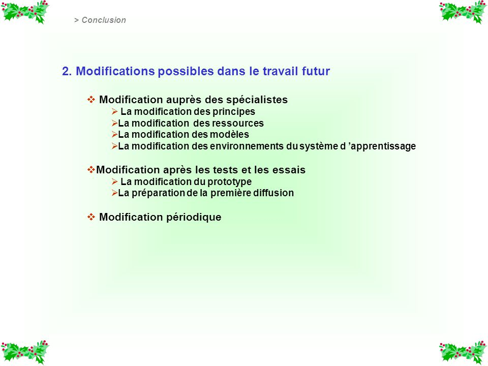 2. Modifications possibles dans le travail futur