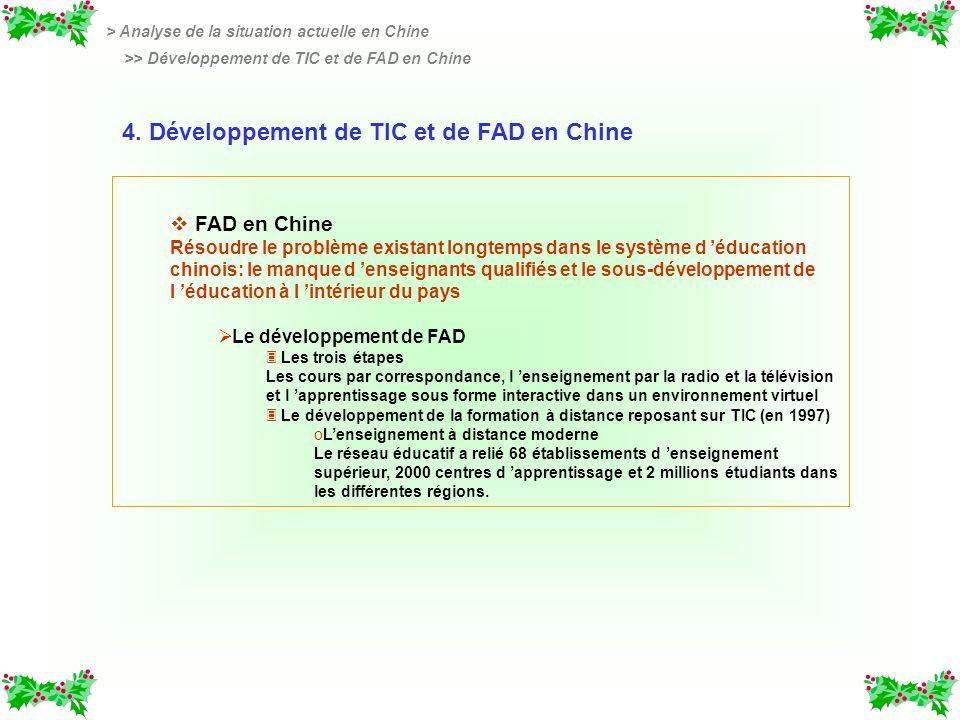 4. Développement de TIC et de FAD en Chine