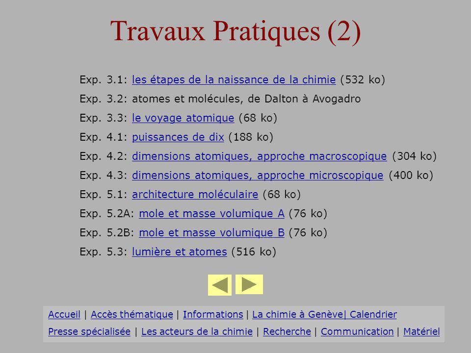 Travaux Pratiques (2) Exp. 3.1: les étapes de la naissance de la chimie (532 ko) Exp. 3.2: atomes et molécules, de Dalton à Avogadro.