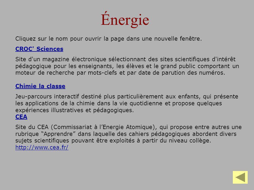 Énergie Cliquez sur le nom pour ouvrir la page dans une nouvelle fenêtre. CROC Sciences.