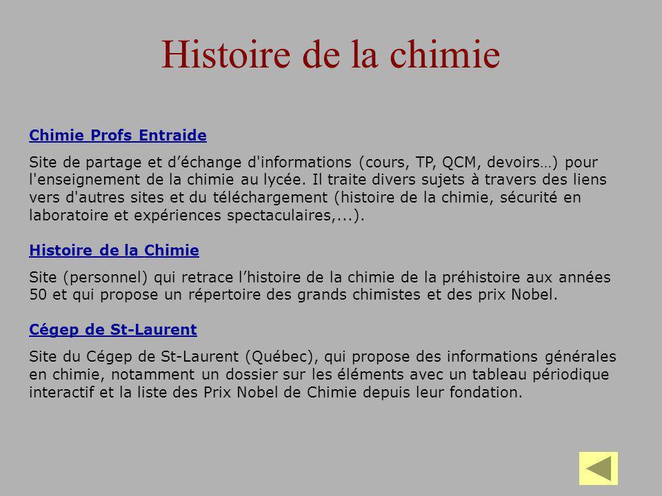 Histoire de la chimie Chimie Profs Entraide