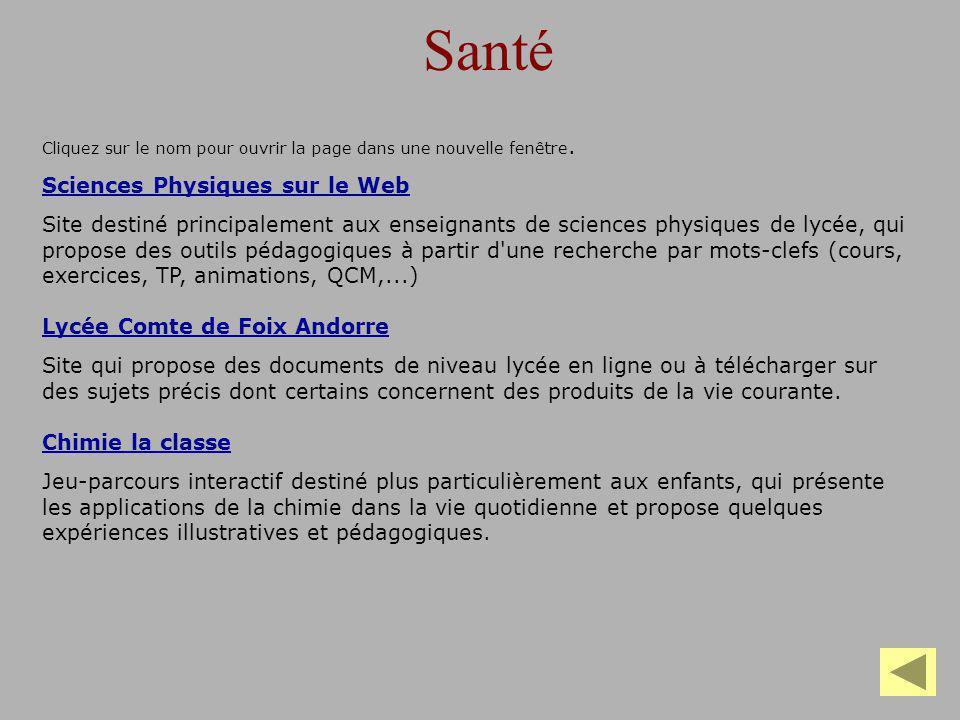 Santé Sciences Physiques sur le Web