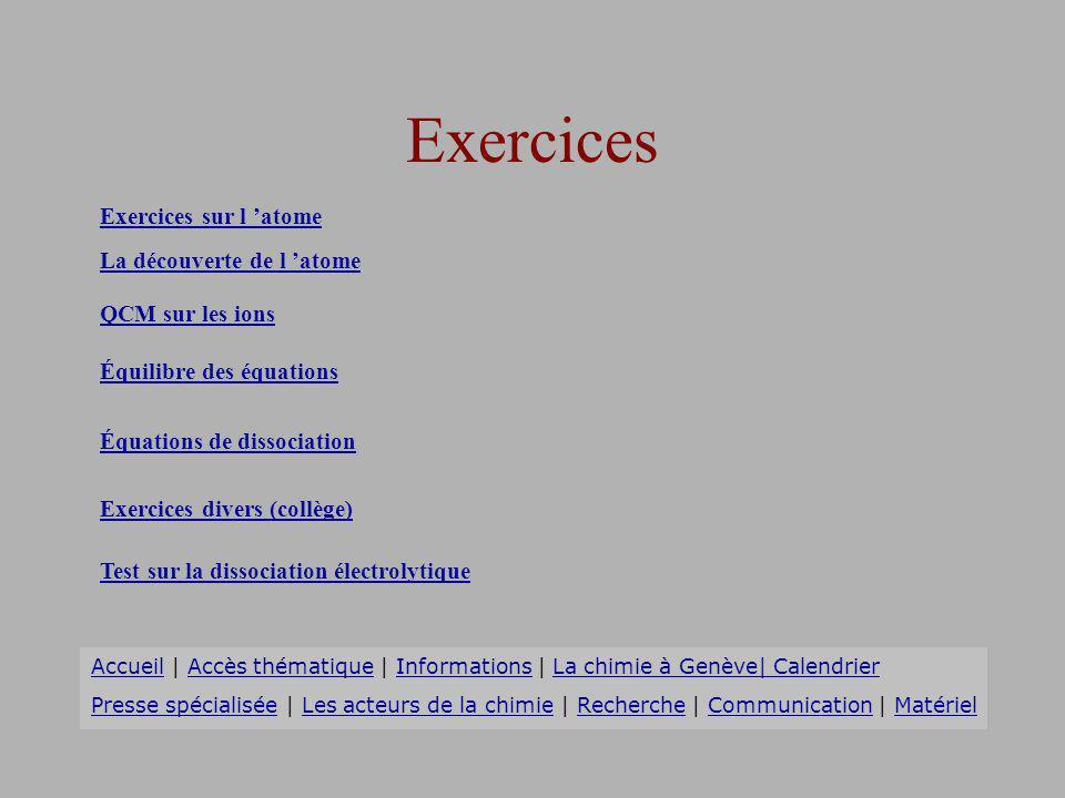 Exercices Exercices sur l 'atome La découverte de l 'atome
