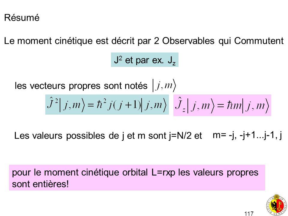 Résumé Le moment cinétique est décrit par 2 Observables qui Commutent. J2 et par ex. Jz. les vecteurs propres sont notés.