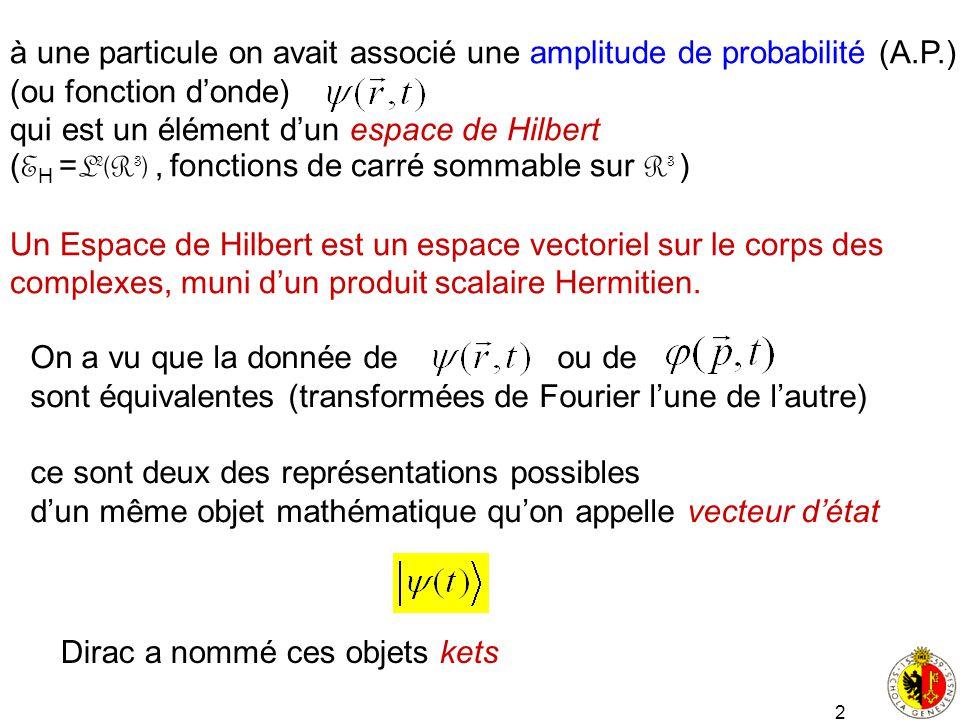 à une particule on avait associé une amplitude de probabilité (A.P.)