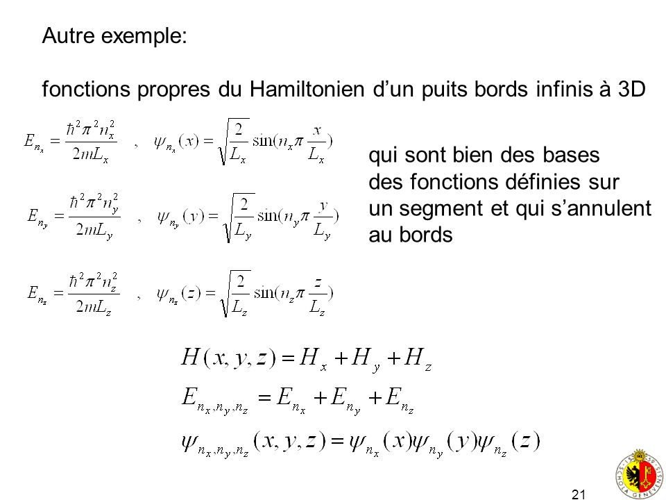 Autre exemple: fonctions propres du Hamiltonien d'un puits bords infinis à 3D. qui sont bien des bases.