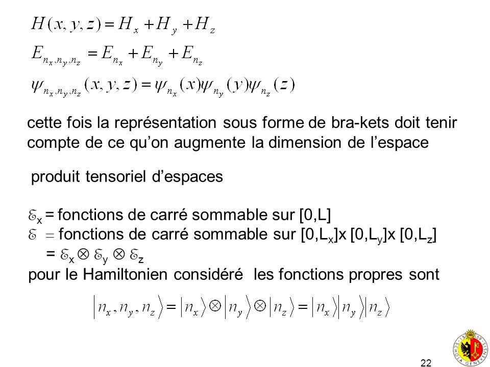 cette fois la représentation sous forme de bra-kets doit tenir compte de ce qu'on augmente la dimension de l'espace