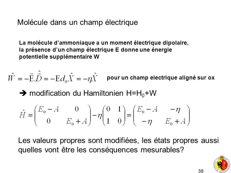 Molécule dans un champ électrique