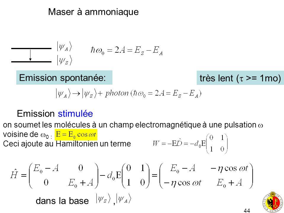 Maser à ammoniaque Emission spontanée: très lent ( >= 1mo)