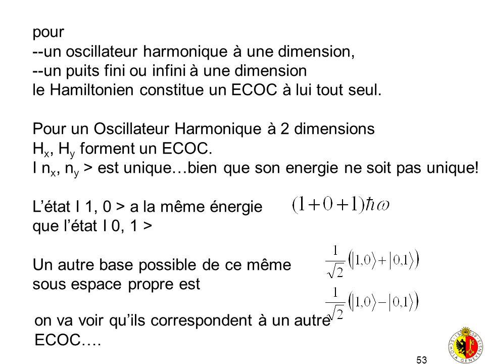pour --un oscillateur harmonique à une dimension, --un puits fini ou infini à une dimension. le Hamiltonien constitue un ECOC à lui tout seul.