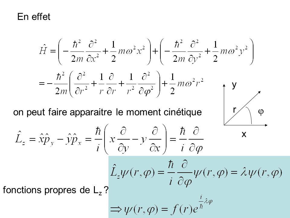 En effet y r on peut faire apparaitre le moment cinétique  x fonctions propres de Lz