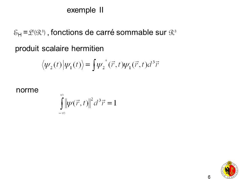 exemple II EH =L2(R3) , fonctions de carré sommable sur R3 produit scalaire hermitien norme