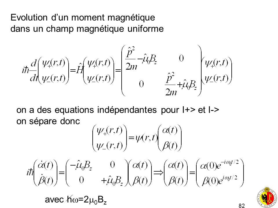 Evolution d'un moment magnétique