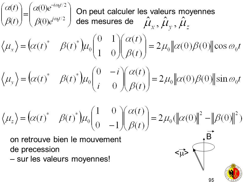 On peut calculer les valeurs moyennes
