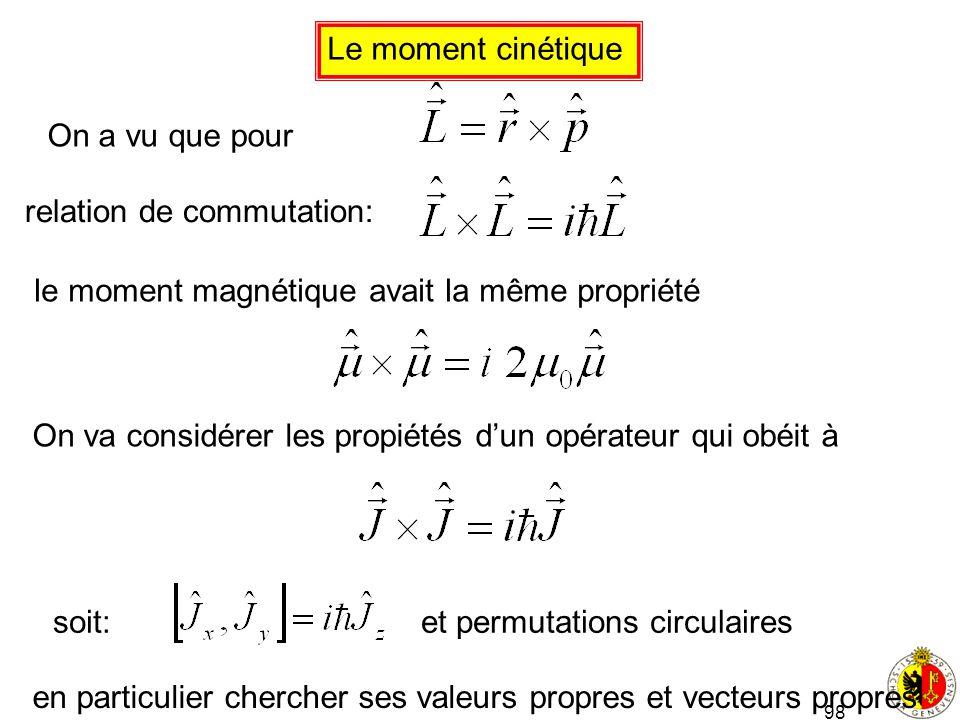 Le moment cinétique On a vu que pour. relation de commutation: le moment magnétique avait la même propriété.