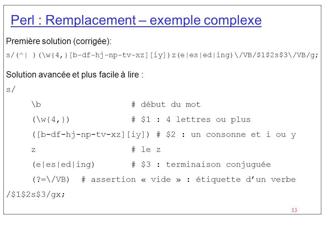 Perl : Remplacement – exemple complexe