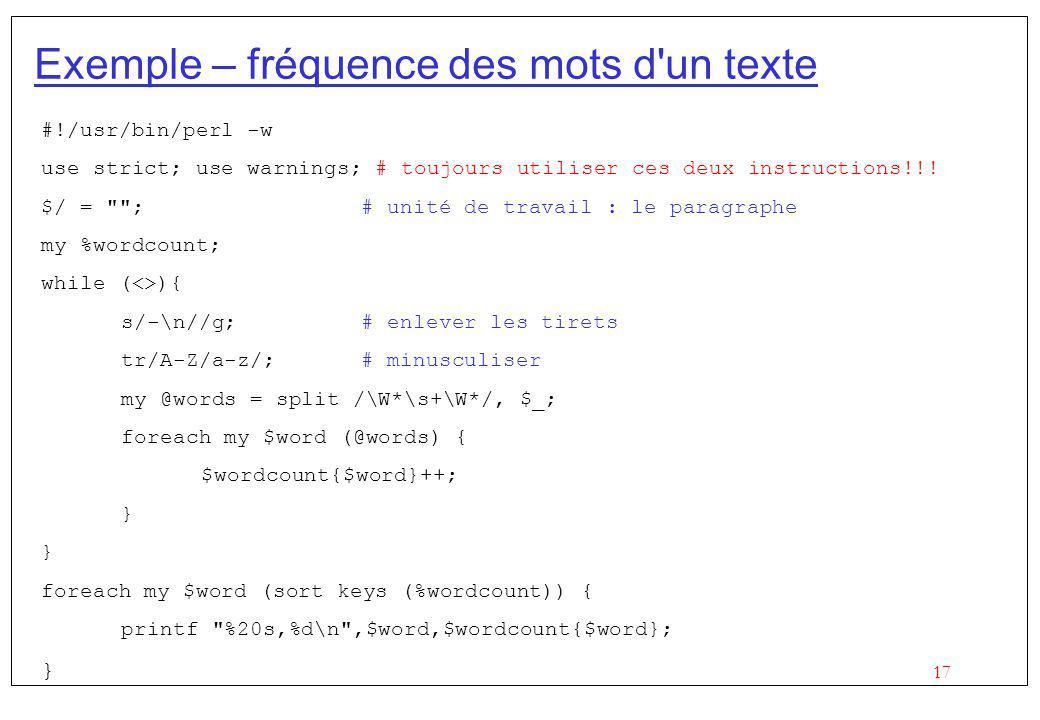 Exemple – fréquence des mots d un texte