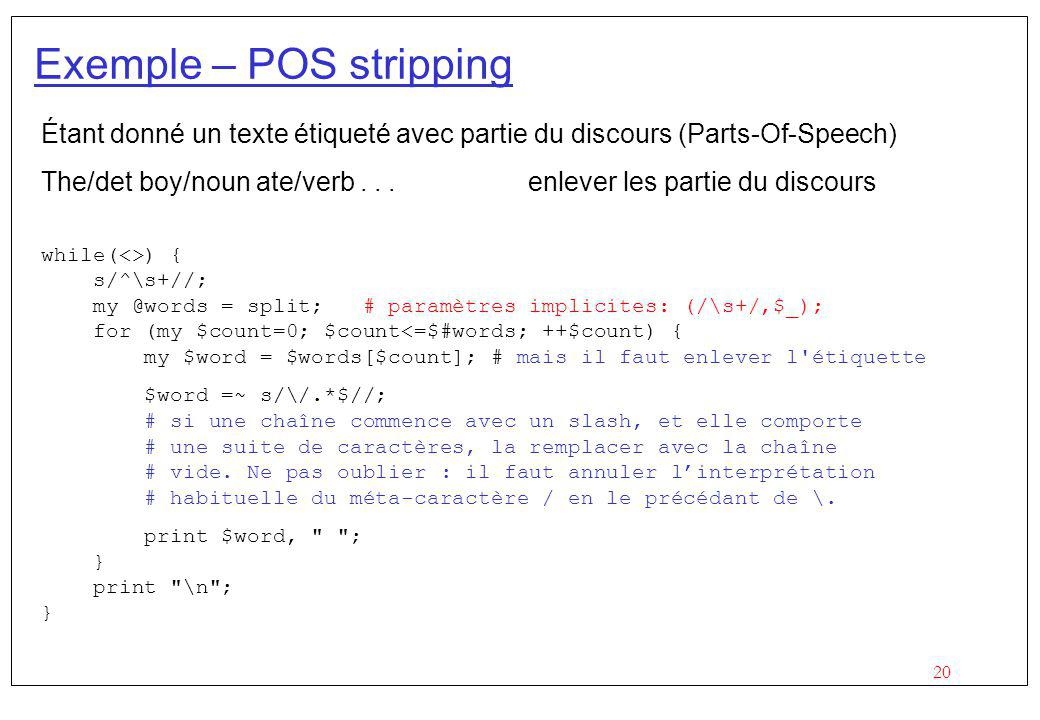 Exemple – POS stripping