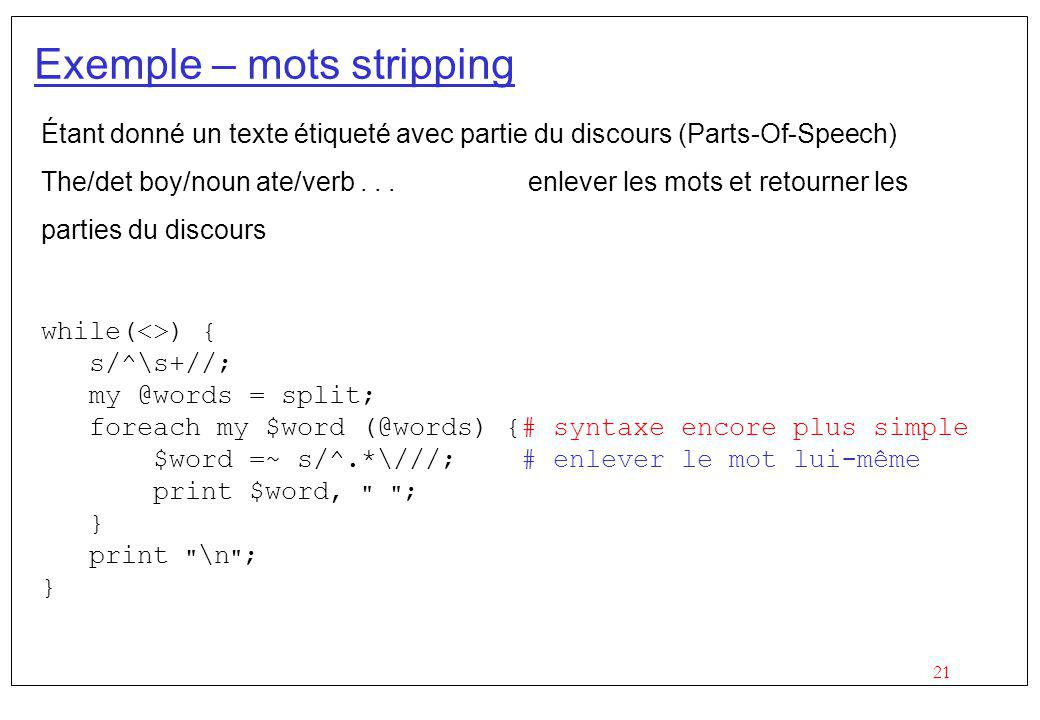 Exemple – mots stripping