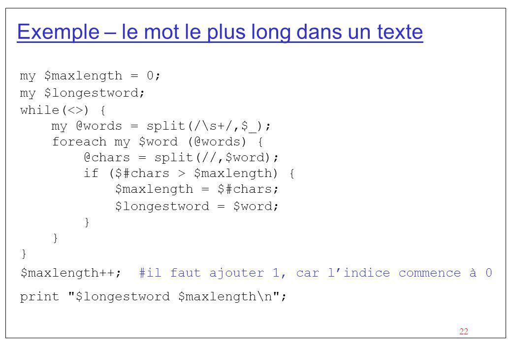 Exemple – le mot le plus long dans un texte