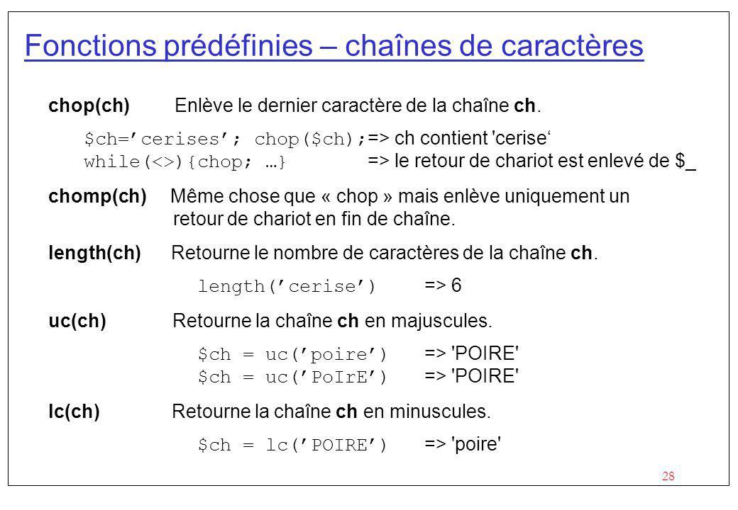 Fonctions prédéfinies – chaînes de caractères