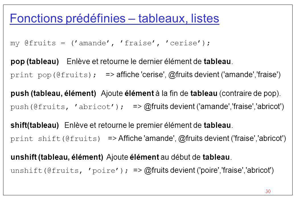 Fonctions prédéfinies – tableaux, listes