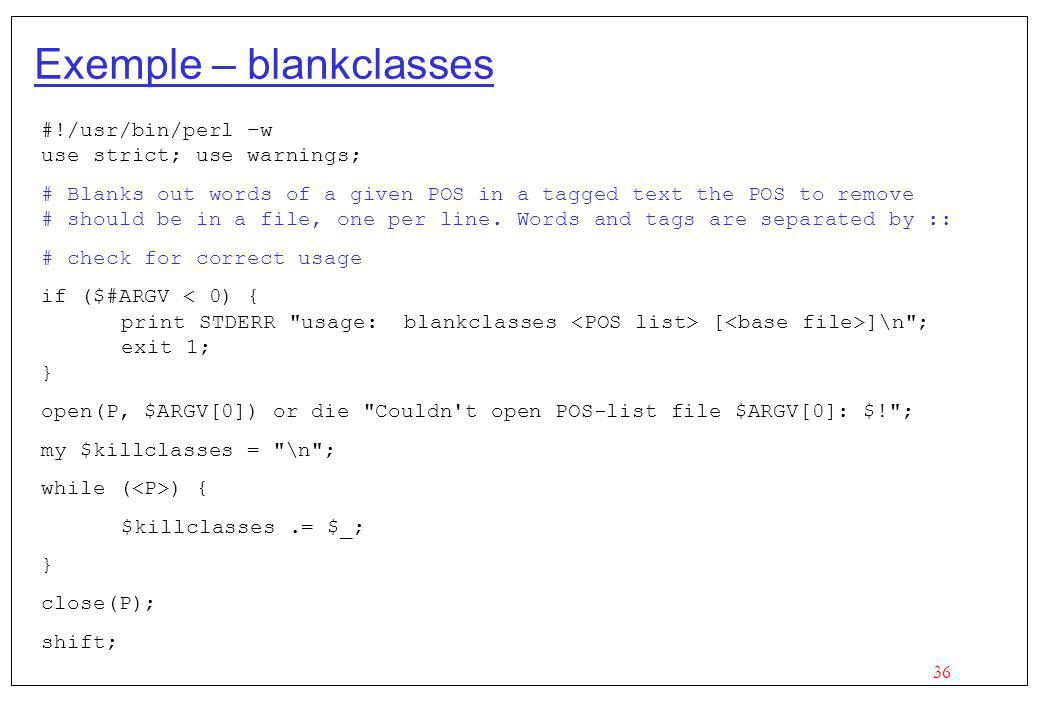 Exemple – blankclasses