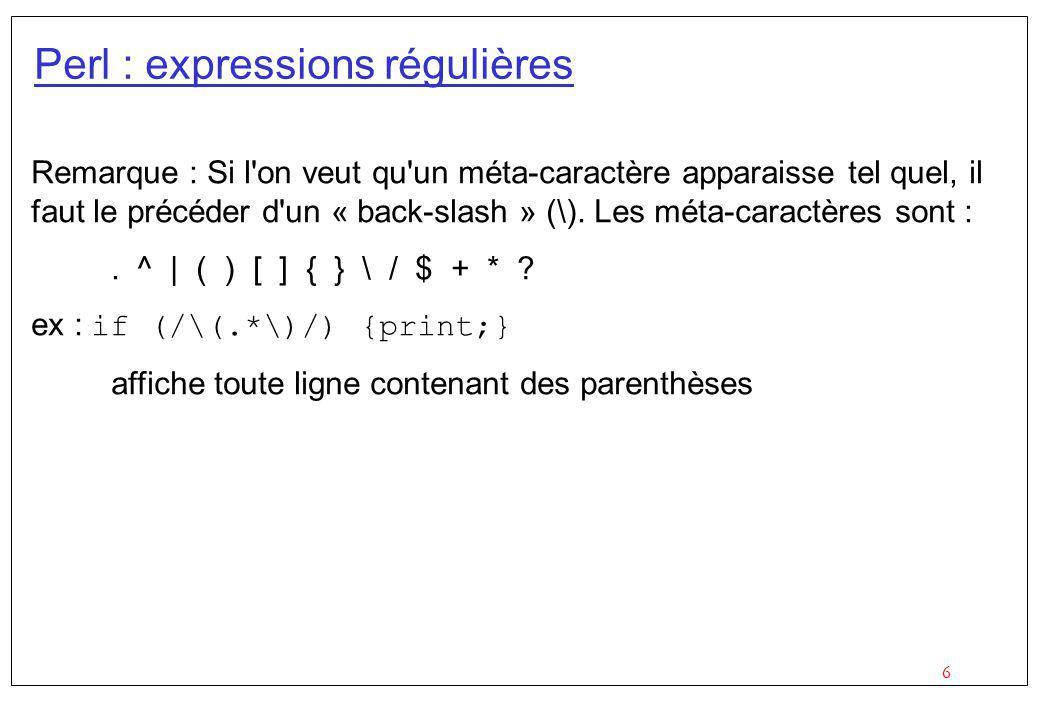 Perl : expressions régulières