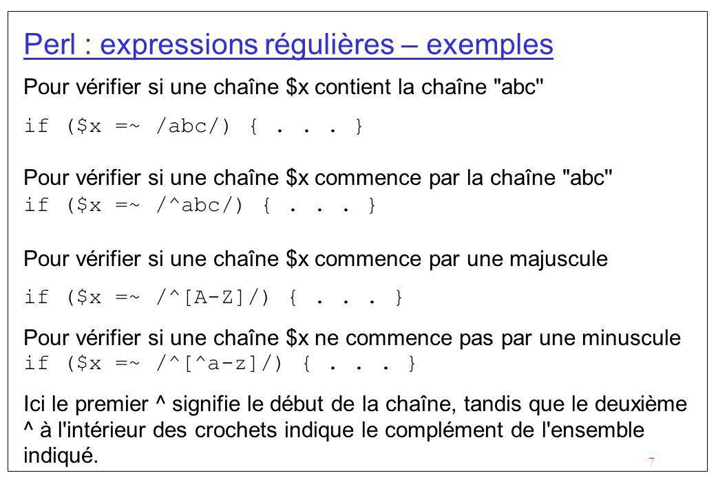 Perl : expressions régulières – exemples