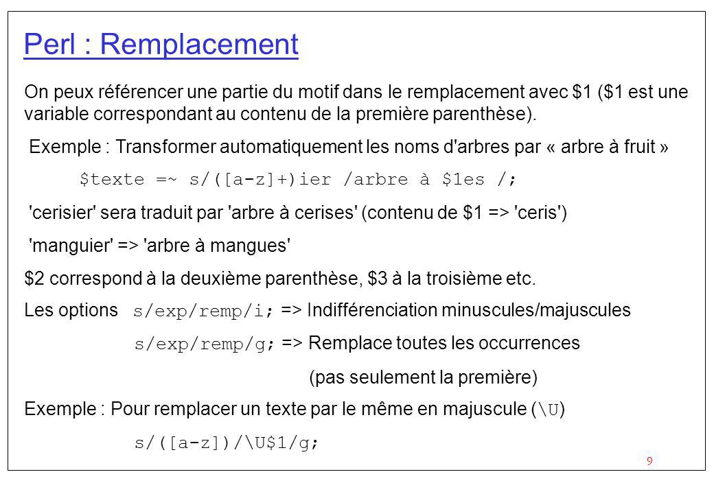 Perl : Remplacement