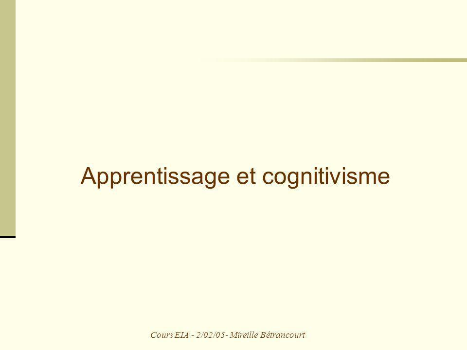 Apprentissage et cognitivisme
