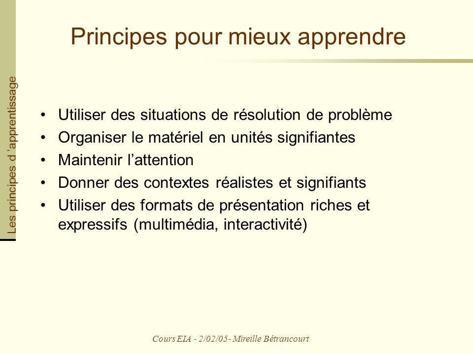 Principes pour mieux apprendre