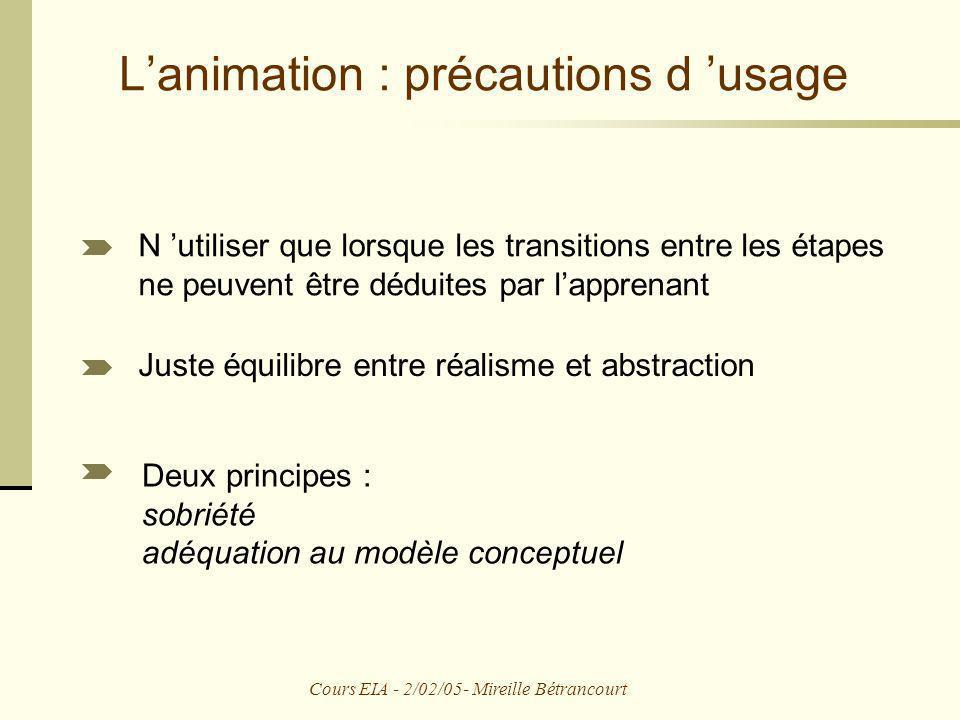 L'animation : précautions d 'usage