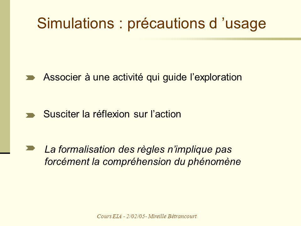 Simulations : précautions d 'usage