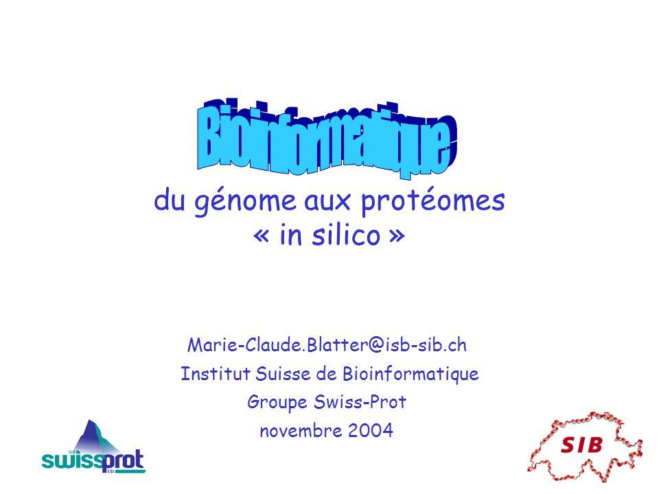 du génome aux protéomes « in silico »