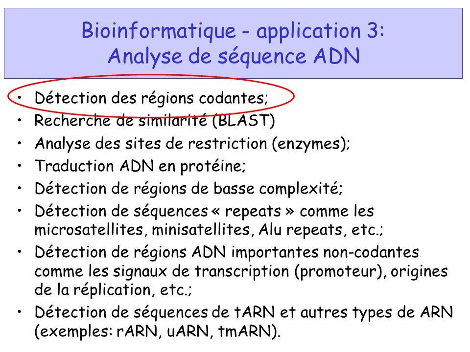 Bioinformatique - application 3: Analyse de séquence ADN