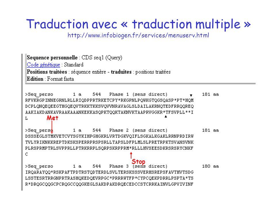 Traduction avec « traduction multiple » http://www. infobiogen